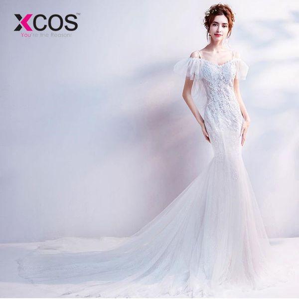 vendita all'ingrosso Sexy abito da sposa bianco sirena 2018 reale prezzo abiti da sposa in pizzo Royal Train Shop online Cina vestido branco