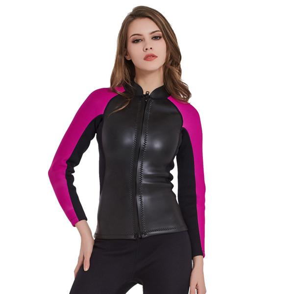 2mm neoprene women's long sleeve wetsuit jacket diving suit neoprene surfing snorkelling jacket wihout pant