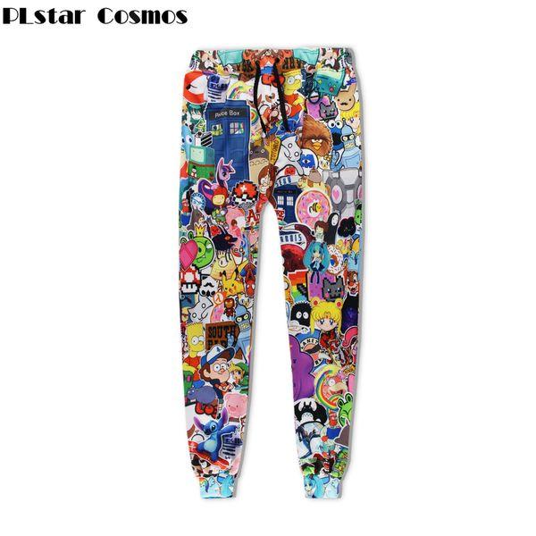PLstar Cosmos Frete grátis 2017 Moda Homens Mulheres calças de Marca Dos Desenhos Animados 3d impressão Unisex hip hop calças casuais