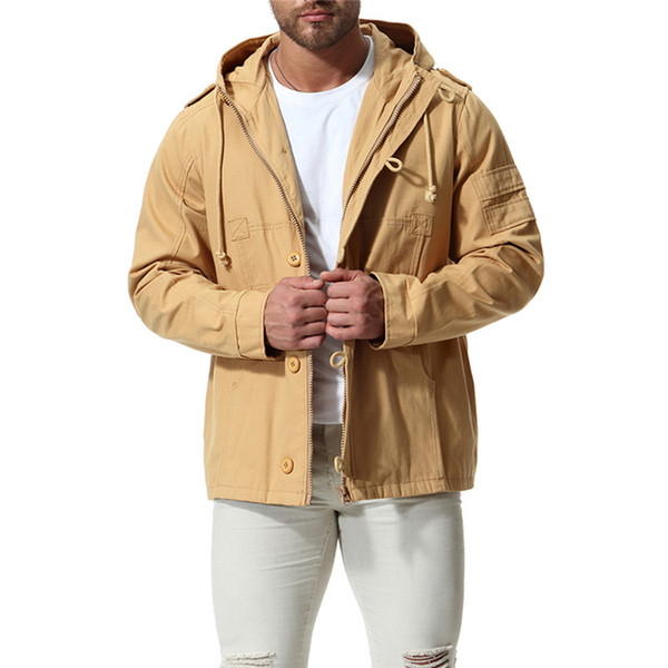 2018 Autumn new Large size Men's Hooded cotton jacket Men's Loose Casual coat Color Black / Khaki / Army green Size S-XXL 3XL