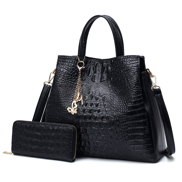 2018 Limit Discount Women Genuine Leather Shoulder Bag Purse Double Alligator Causal Totes Female Large Capacity Top-Handle Bag
