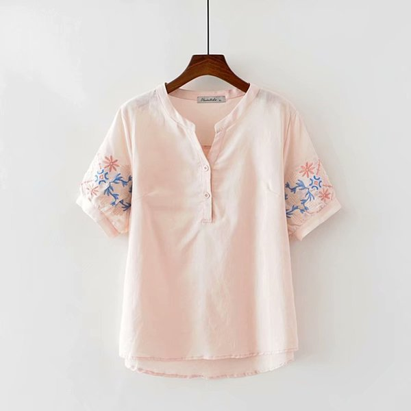 Plus size ladies tee shirt cotton linen floral Embroidered women summer t-shirts 2018 pink ladies t shirts femme