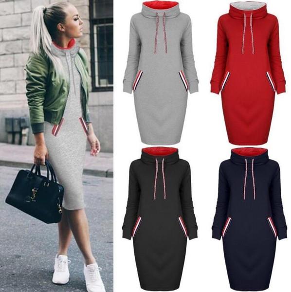 Sıcak Satış Kadınlar Kapüşonlu Sweatshirt Elbise 6 Renkler Uzun Kollu Slim Fit Hoodies Cepler ile Rahat Büyük Boy Kadın Giysileri