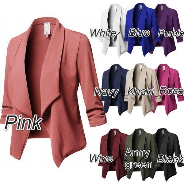 10 Colors S-5XL Jackat Coat Blazer Women Candy Slim OL Fold Short Fit Fashion vintage White Black Pink Blazers Suit Woman Tops