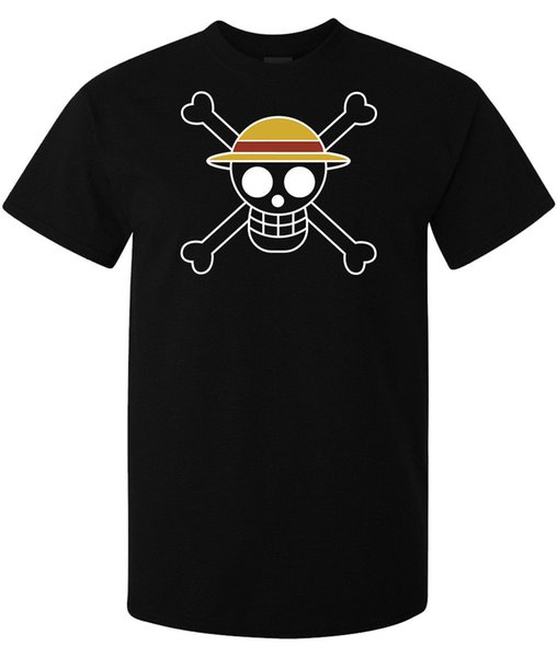 One Piece Straw Hat Luffy Flag Anime Manga Japan men's t shirt black top