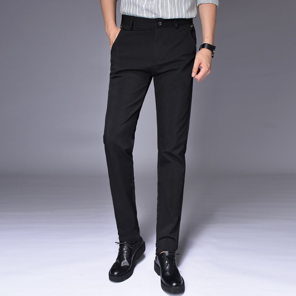 New Men Black Suit Pants Slim Comfortable Elegant Men's Trousers Size 28-38 Pure Color Men's Office Trousers