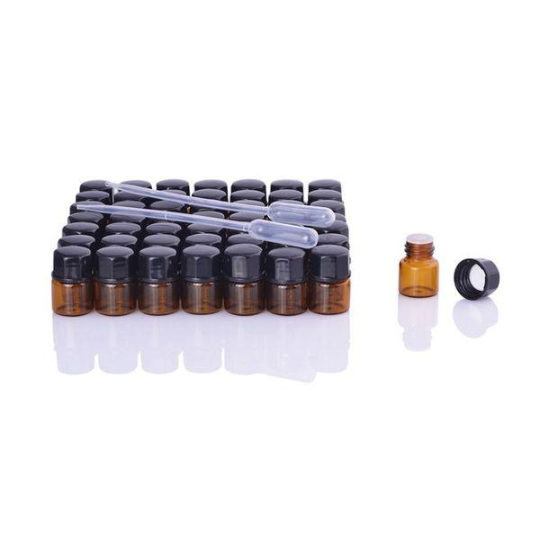 1 ml 2 ml 3 ml Amber Mini Cam Şişe Uçucu Yağ Ekran Flakon Küçük Serum Parfüm Kahverengi Örnek konteyner