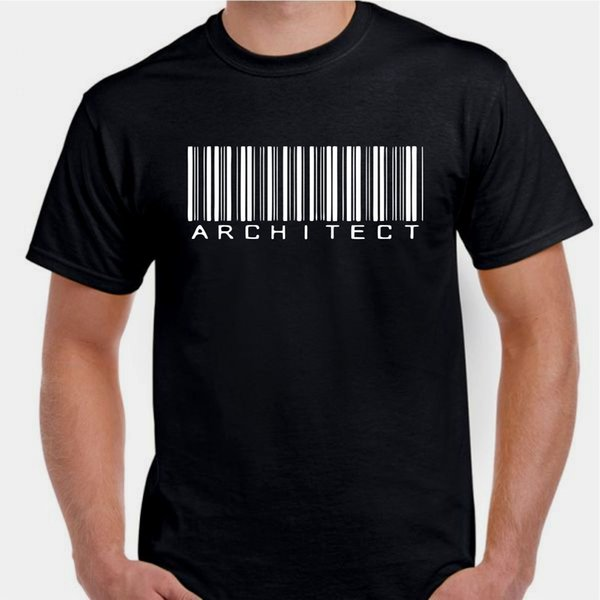 Architect build design homes buildings geometry bar code T shirt Print Round Neck Man