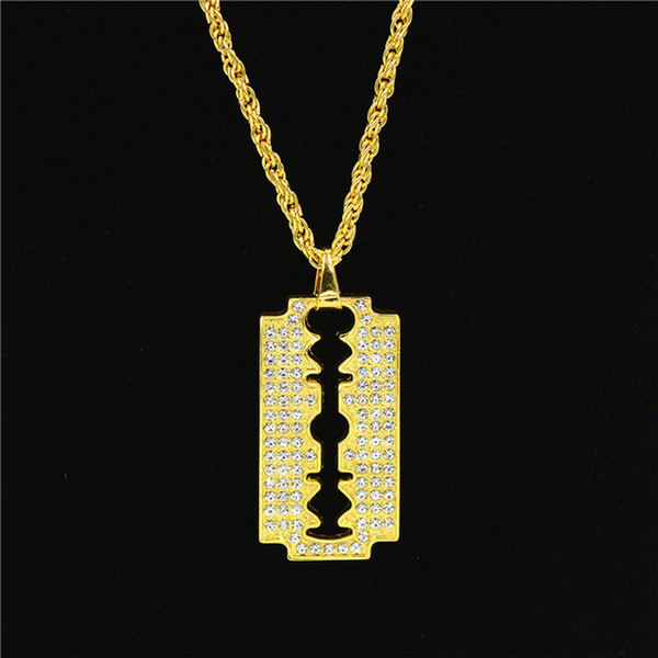 5PCS Hip Hop Style Razor Blade Pendant Necklace Alloy Gold Color Iced Out Rhinestones With 70cm Chain Necklace For Men