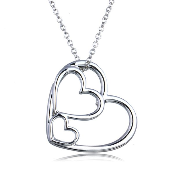 2 Styles Alloy Heart Shaped Memorial Pendants Necklaces 3 Heart Linked to Heart Design Chocker Pendants Necklaces Jewelry For Women