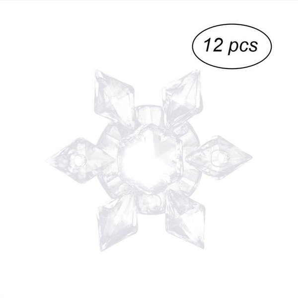 12PCS Transparent Clear Acrylic Christmas Snowflake Ornaments Pendant Xmas Hanging Decorations Party Decor Supplies