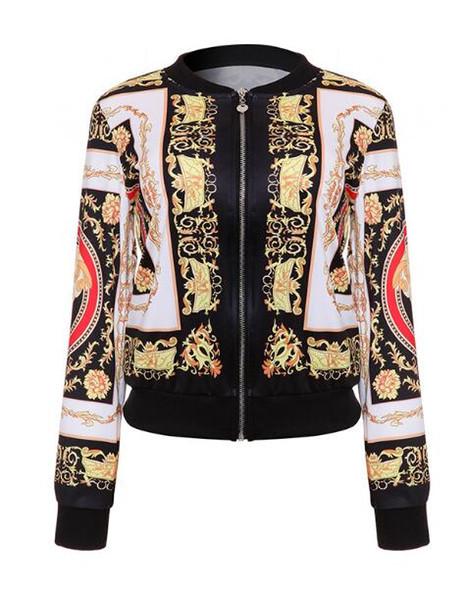 Autumn Female Bomber Jackets Retro Baseball Coat for Women Denim Casual Print Feminina Basic Outerwear Gold Chain Print Clothes