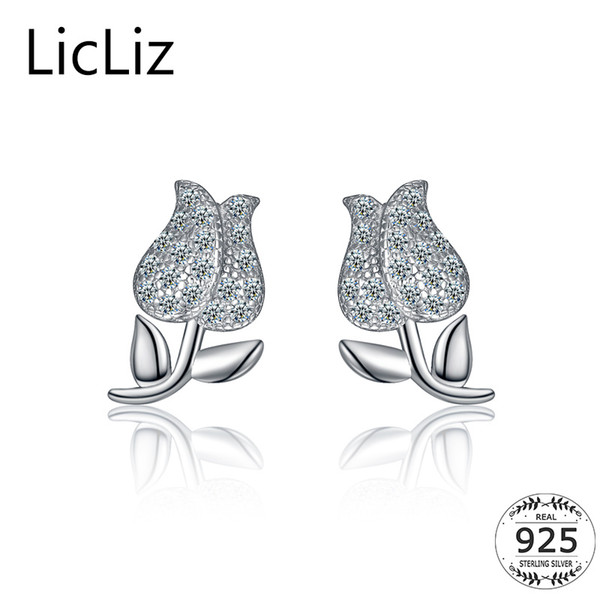 LicLiz Small 925 Sterling Silver Rose Flower Stud Earrings Cubic Zirconia Micro Pave Leaf Ear Stud Earring Posts Women LE0354 S18101207
