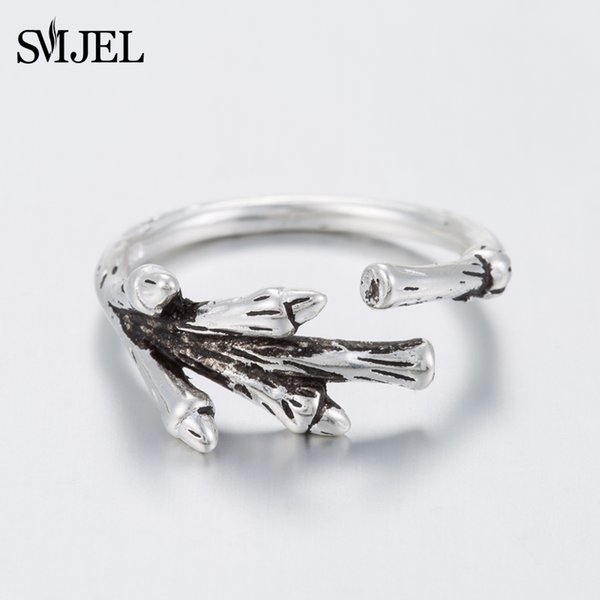 SMJEL Punk Branch Twig Cuff Rings Men Fashion Vintage Frog Feet Jewelry Sier Ring Femme anillos Anel Gifts friend SYJZ132