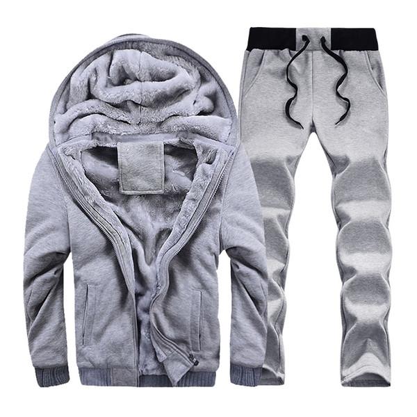 Men Winter Warm Sweatshirts Plus Velvet Hoodie Fur Jackets Parkas Thicken Fleece Hoodies Fashion Casual Cardigan Hoody Outwears Suits 2 Ps