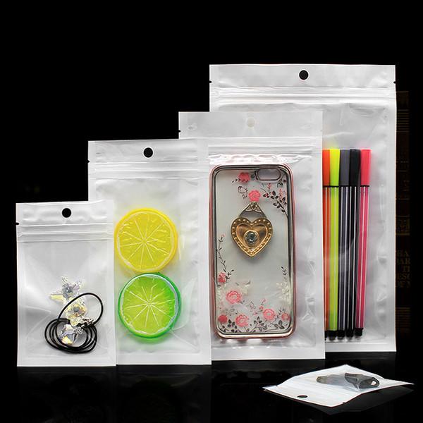 Transparente + blanco Perla de plástico OPP Bolsa Cierre de cremallera Paquete al por menor Bolsa Joyería Comida Bolsa de plástico Tamaño múltiple