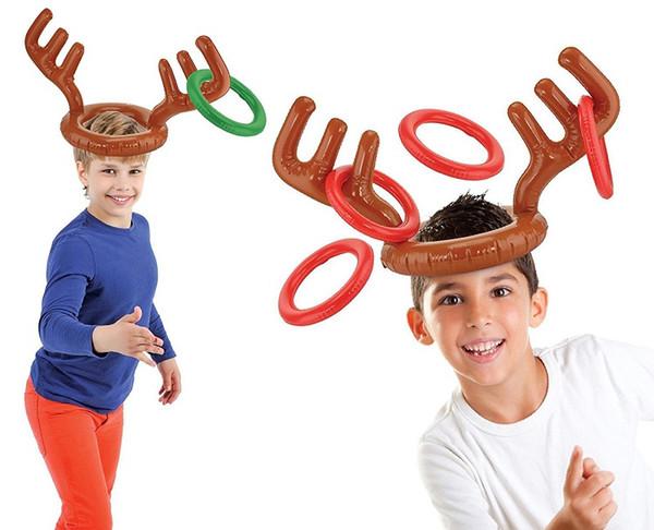 Dos desenhos animados Inflável Cap PVC Antler Hat Antler para Crianças Presente de Natal New Lovely Headgear Toy W8097