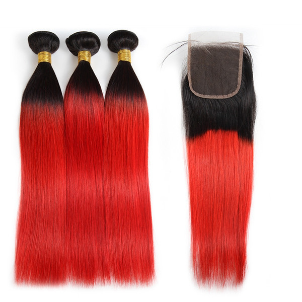 Ishow Ombre Color T1B/Red Hair Weaves Extensions Peruvian Hair 3Bundles with Closure Ombre Body Wave Human Hair
