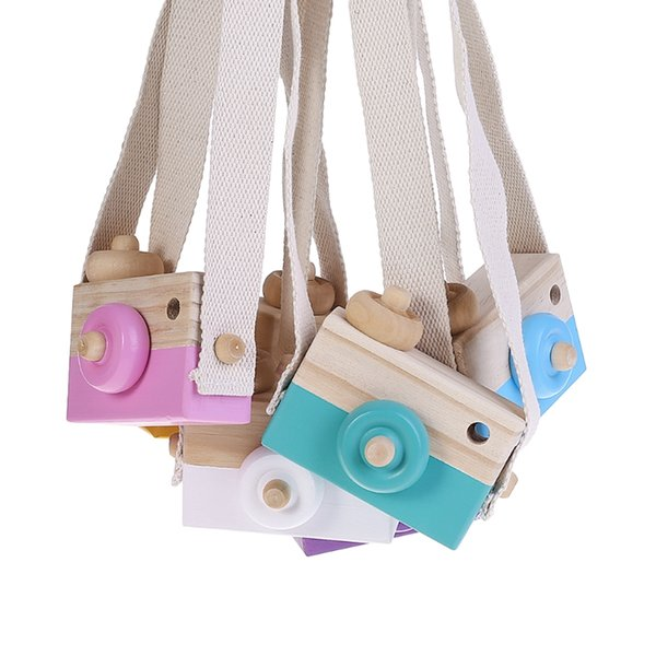 Wooden Realistic Toy Camera Kids Creative Neck Hanging Rope Intellectual Toys Photography Prop Gift