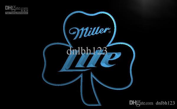 LA020- Miller Lite Shamrock Beer Bar Pub Neon Light Sign