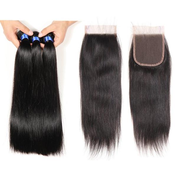 Top Lace Closure With 3 Bundles Brazilian Human Hair Weaves Indian Straight Virgin Hair Grade 8A Brazillian Virgin Hair with Closures