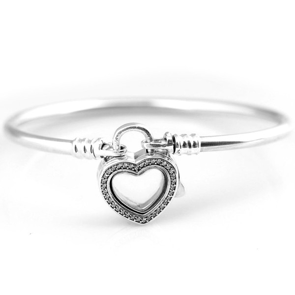 New 925 Sterling Silver Bangle Pave Love Heart Locket Snake Chain Bracelet Bangle Fit Women Bead Charm DIY Jewelry