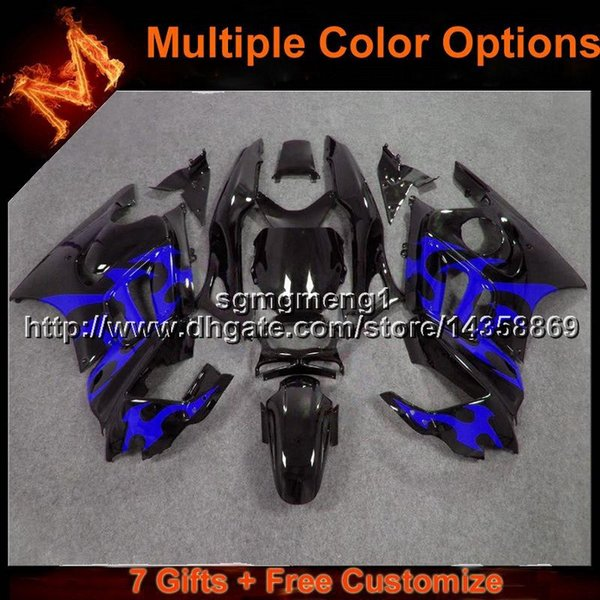 23colors+8Gifts blue flames motorcycle cowl for HONDA CBR 600F3 1995-1996 CBR600F3 1995 1996 ABS Plastic Fairing