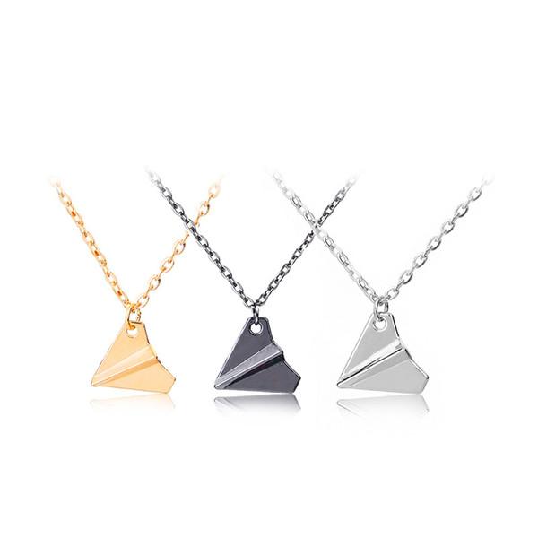 Tendance Origami Avion Chaîne Pendentif Colliers pour Femmes Simple Orgiami Papier Avion Couple Collier 3 couleurs