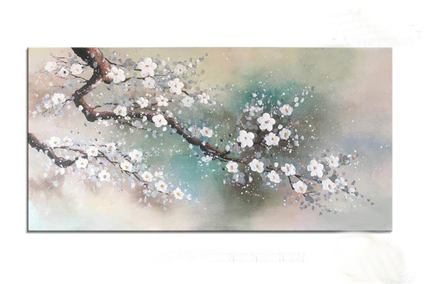 Modern Abstract Canvas Art Hand Painted Plum Tree Blossom Elegant Flowers Oil Painting for Living Room