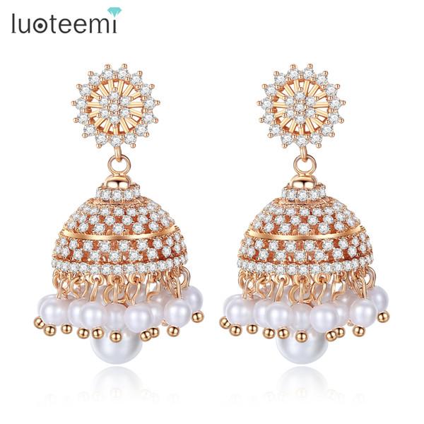 LUOTEEMI Böhmen Stil Champagner Gold Ohrringe für Frauen CZ Stein Imitation Perle Krone Geformt Baumeln Ohrring Mode Geschenk