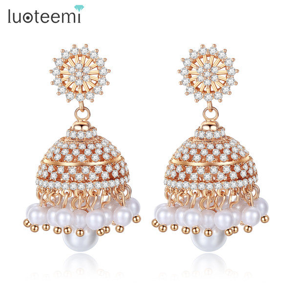 LUOTEEMI Bohemia Style Champagne Gold Drop Earrings For Women CZ Stone& Imitation Pearl Crown Shaped Dangle Earring Fashion Gift