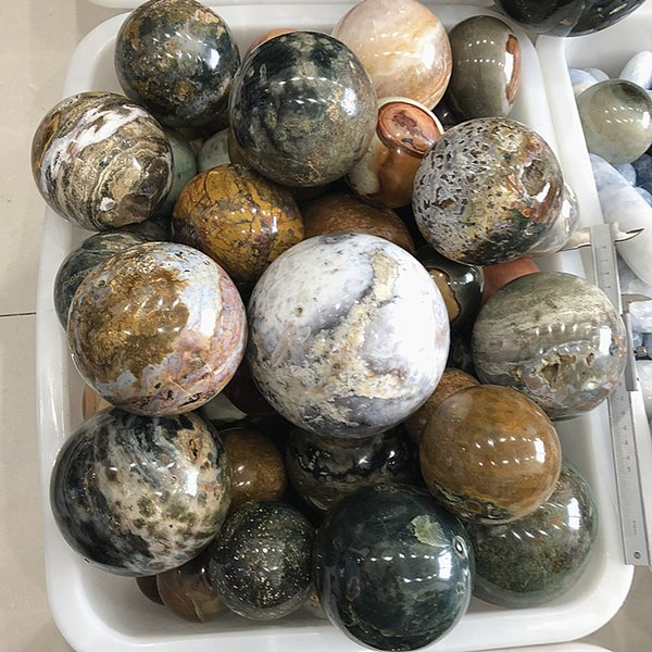 wholesale Diametre80mm Beautiful Agate Ball Natural Crystal Ball Heal ocean Ball Healing Collection Home Decoration Crystal Gift
