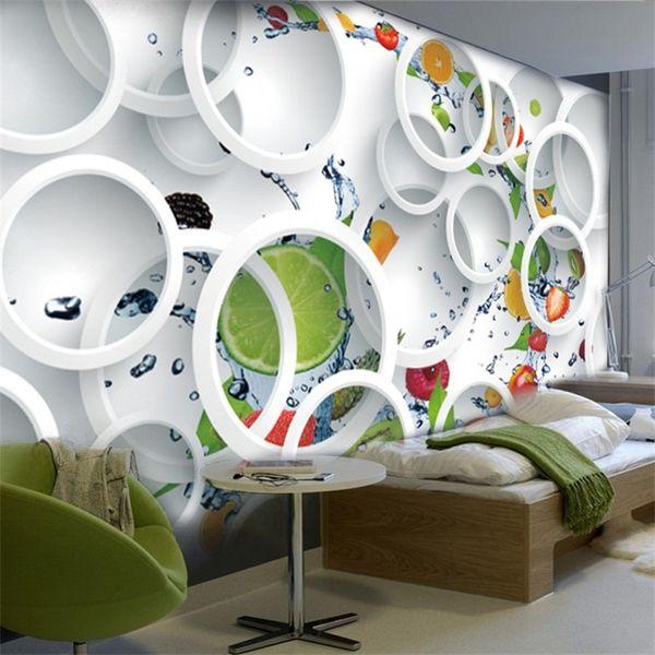 3D Wandbilder Tapete Non Woven Kaltes Getränk Shop Großen Hintergrund Malerei Moderne Restaurant Obst Wandaufkleber Wohnkultur 29 mn bb