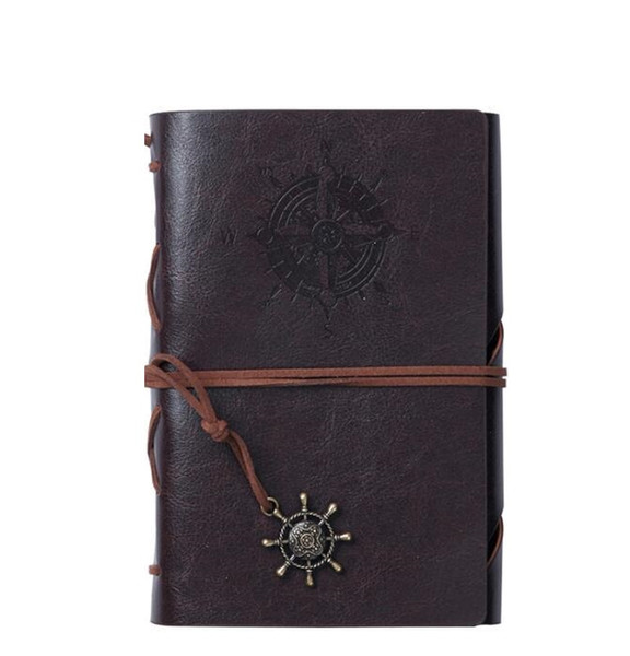 best selling A5 spiral school Notebook Traveler Journal Diary Book Vintage Pirate Anchors Pu Leather Note Book Cowhide paper noepads Xmas Gift