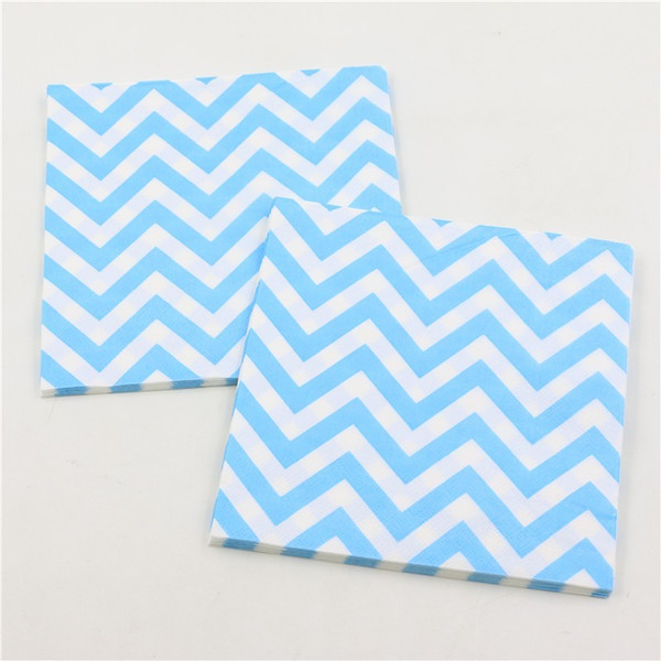 Happy Birthday Party Kids Favors Sky Blue Wave Paern Paper Baby Shower Tissues Decoration Napkins Events Supplies 20pcs\lot