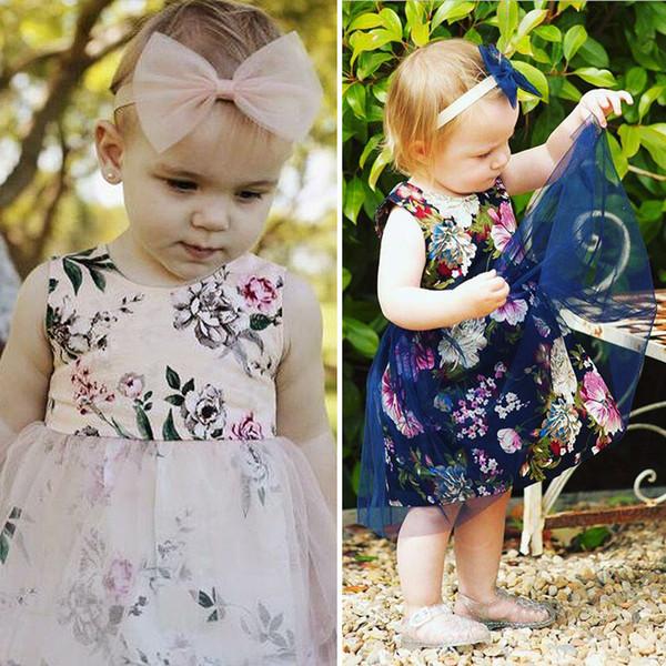 Kinder Sommerkleid sleeveless Baby Mädchen Blumendruck Tüll Spitze Kleid Kinder weiche Baumwolle Kittel Designs