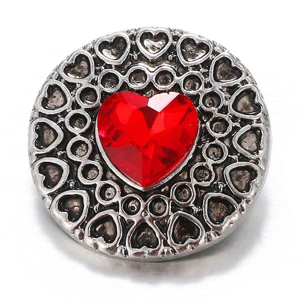 10pcs beauté coeur rouge charme strass belle coeur 18mm charme boutons pression Fit DIY charme Bracelets