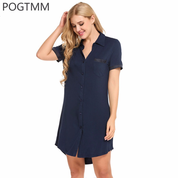 Sexy Sleepwear Women Summer Short Sleeve Turn Down Collar Sleepshirts Nightgown Modal Buon Nightwear Night Sleep Shirt Dress