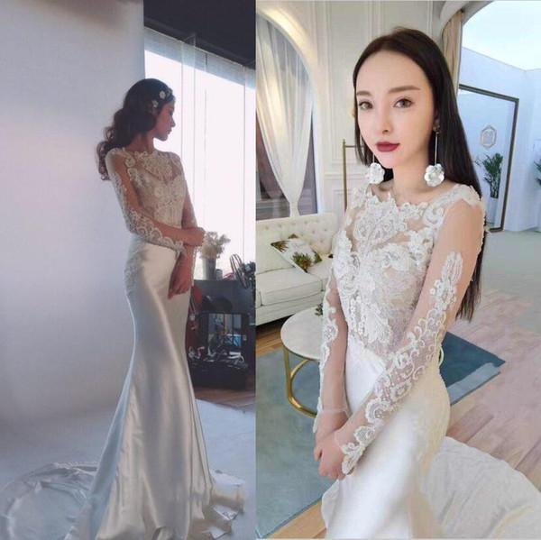 Actual Photo Lace Wedding Dresses Long Sleeves Silk Formal Bridal Gowns Gorgeous Beading V Back Open Sweep Train Wedding Gowns Two In One Wedding
