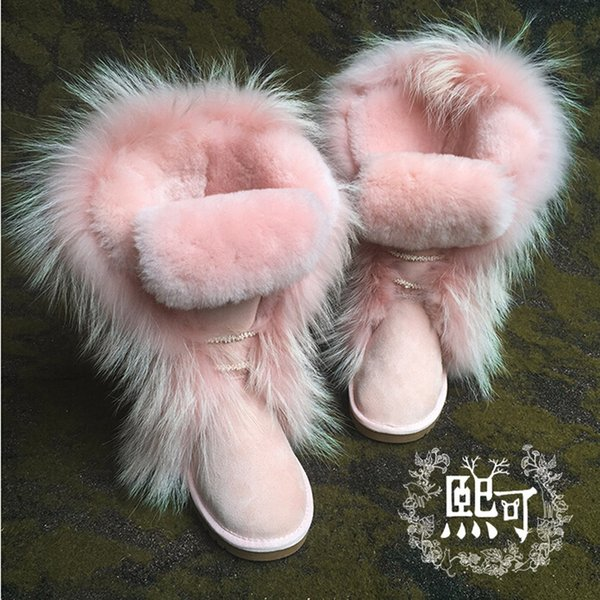 Acheter Automne Hiver Femmes Bottes Fourrées Rose Noir En Cuir Bottes De  Neige Plateformes Comfy Botas Bout Rond Chaussures De Mode Bottes Femme De