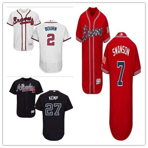 online retailer 02c1e 301ec 2018 Custom Men'S Women Youth Majestic Braves Jersey #7 Dansby Swanson 2  Michael Bourn 27 Matt Kemp Home Black Red White Kids Baseball Jerseys From  ...