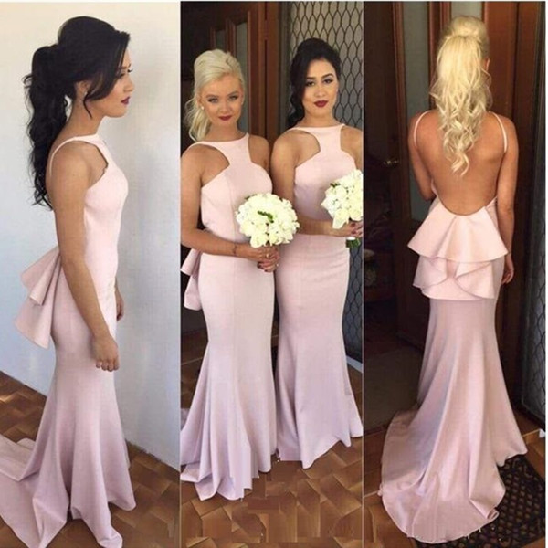 New Arrival 2020 Spring Fashion Mermaid Wedding Party Gowns Glamorous Pink Long Bridesmaids Dresses Halter Sexy Sliim Cheap Bridesmaid Dress