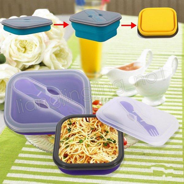 5 cores Silicone Dobrável Lancheira recipiente de comida portátil tigelas Para Crianças Escola Ao Ar Livre piquenique caixa de Comida Ferramenta de Cozinha GGA566 12 pcs