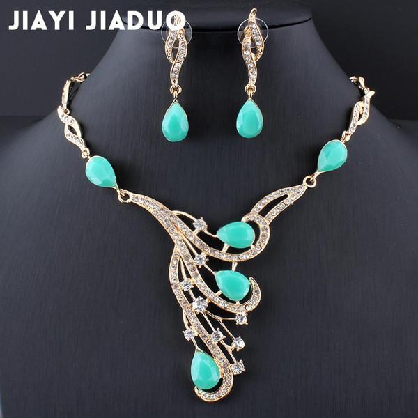 jiayijiaduo African jewelry set wedding dress accessories beautiful women gold color necklace earrings set wedding accessories
