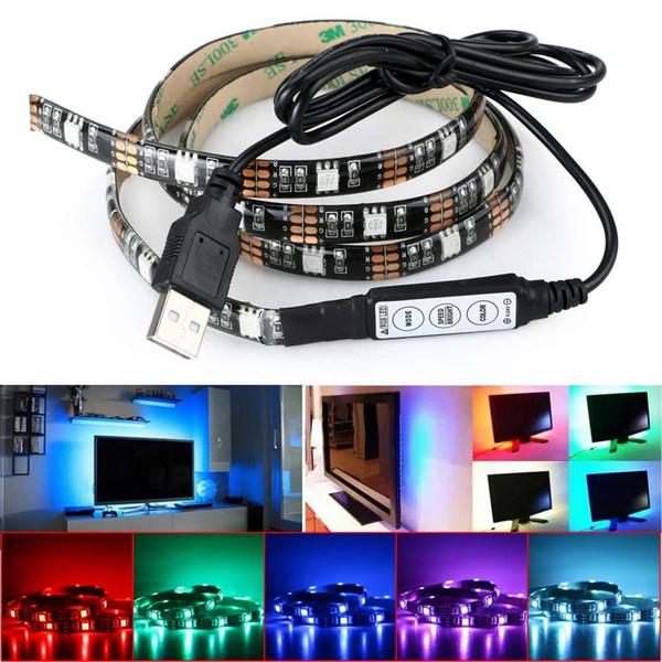 USB 5V RGB LED Strip 5050 Strip Lights TV Retroilluminazione 5V USB Powered 3Key Mini Controller per HDTV, TV a schermo piatto Accessori Colore multiplo