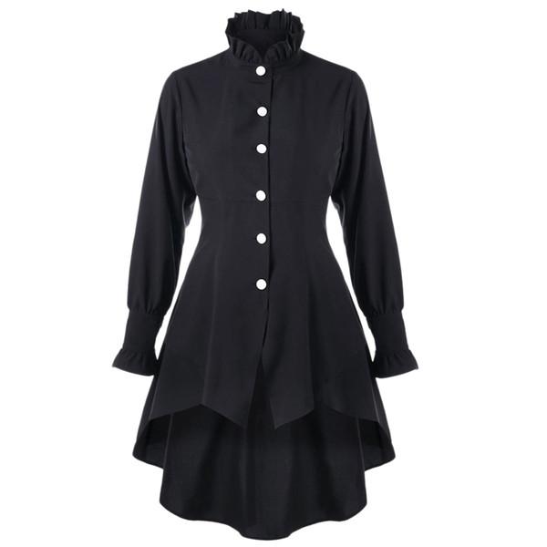ZAFUL Frauen Mäntel Gothic Winter Trenchcoat Für Frauen Mode Lässig Rüschen Kragen Lace Up Dip Saum Mäntel Oberbekleidung