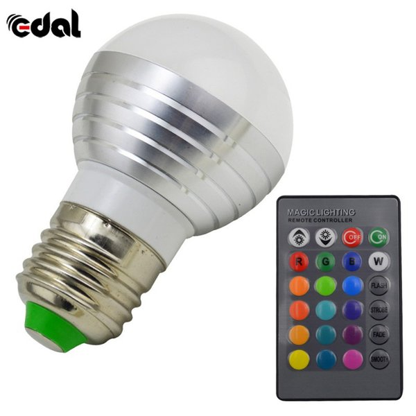 new product 8580e a0680 EDAL 3W RGB LED Magic Light Bulb Lamp + 24Key IR Remote Control Colors  Change New Hot Smart Home Illumination Hot Sale Led Lighting Led Strip  Lights ...