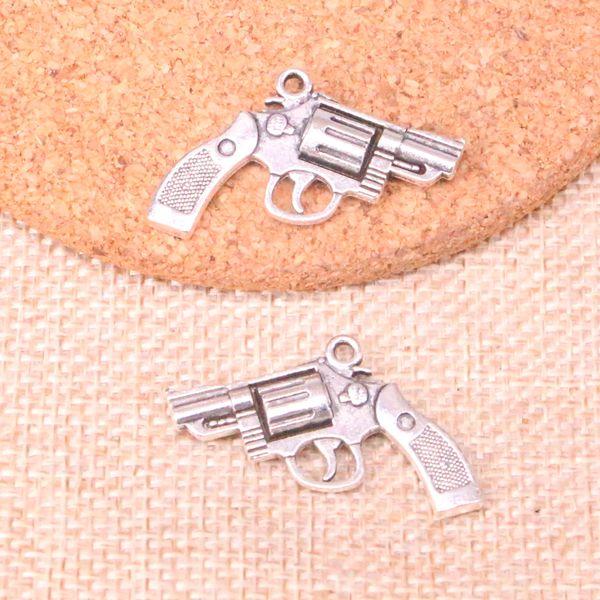 32pcs Antique silver pistol revolver gun Charms Pendant Fit Bracelets Necklace DIY Metal Jewelry Making 29*22mm