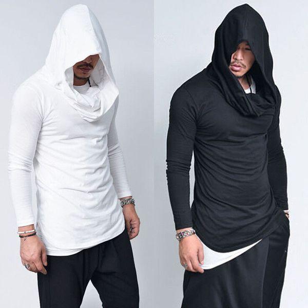 2018 Frühjahr neue Mens Hoodies Slim Fit lange Ärmel feste Hoodies leichte dünne Material mit Kapuze Outwear Gothic Street Men Kleidung