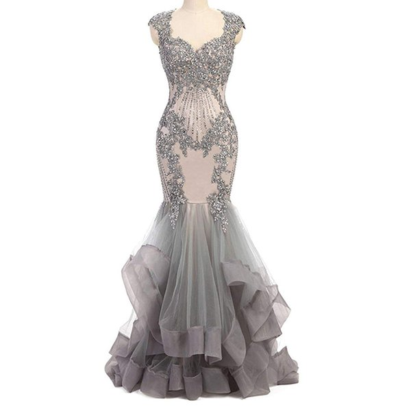 Women's Lace Crystals Prom Dresses Long Mermaid Evening Dress for Party Formal evening dresses long dress tulle gown vestiti da sera